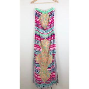 Hale Bob Strapless Tube Maxi Dress Side Slits